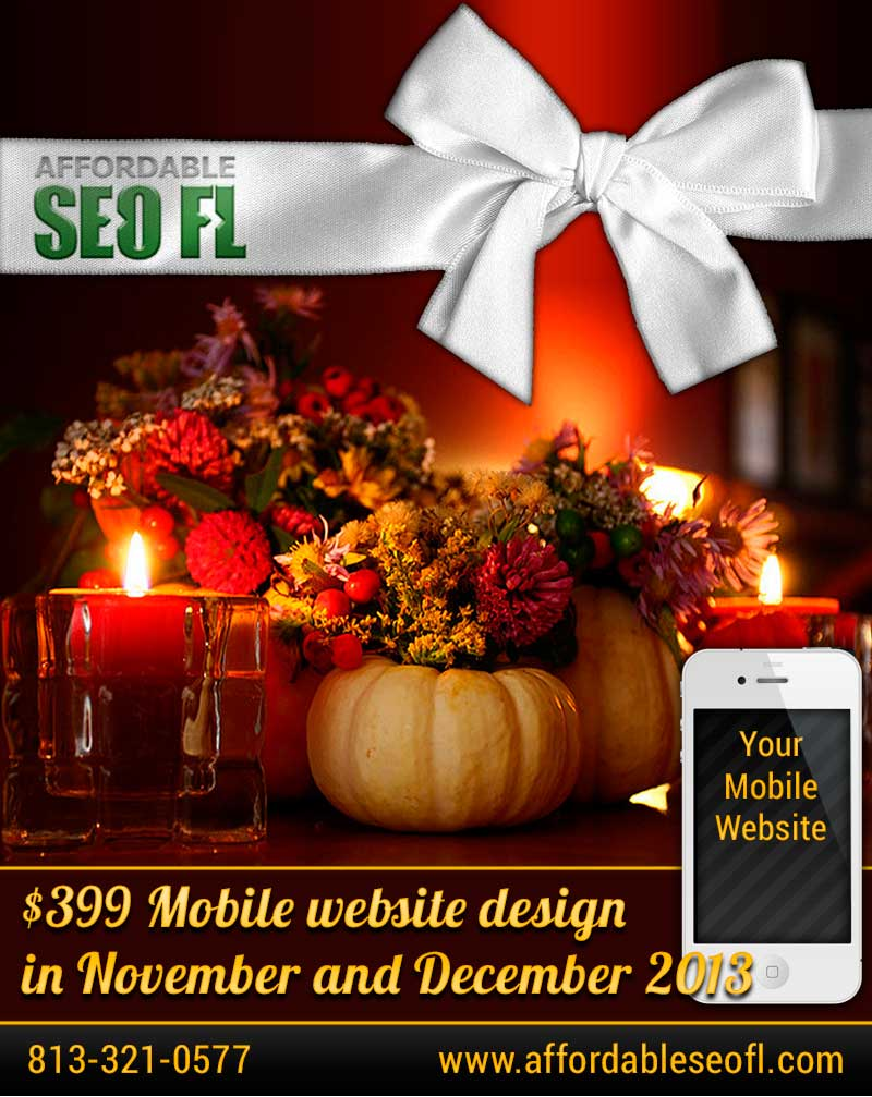 Mobile website desin Tampa special November 2013 Holiday Special: $399 Mobile Website Design
